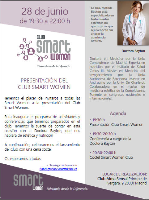 Invitacion Club Smart Women 2018- Dra. Bayton